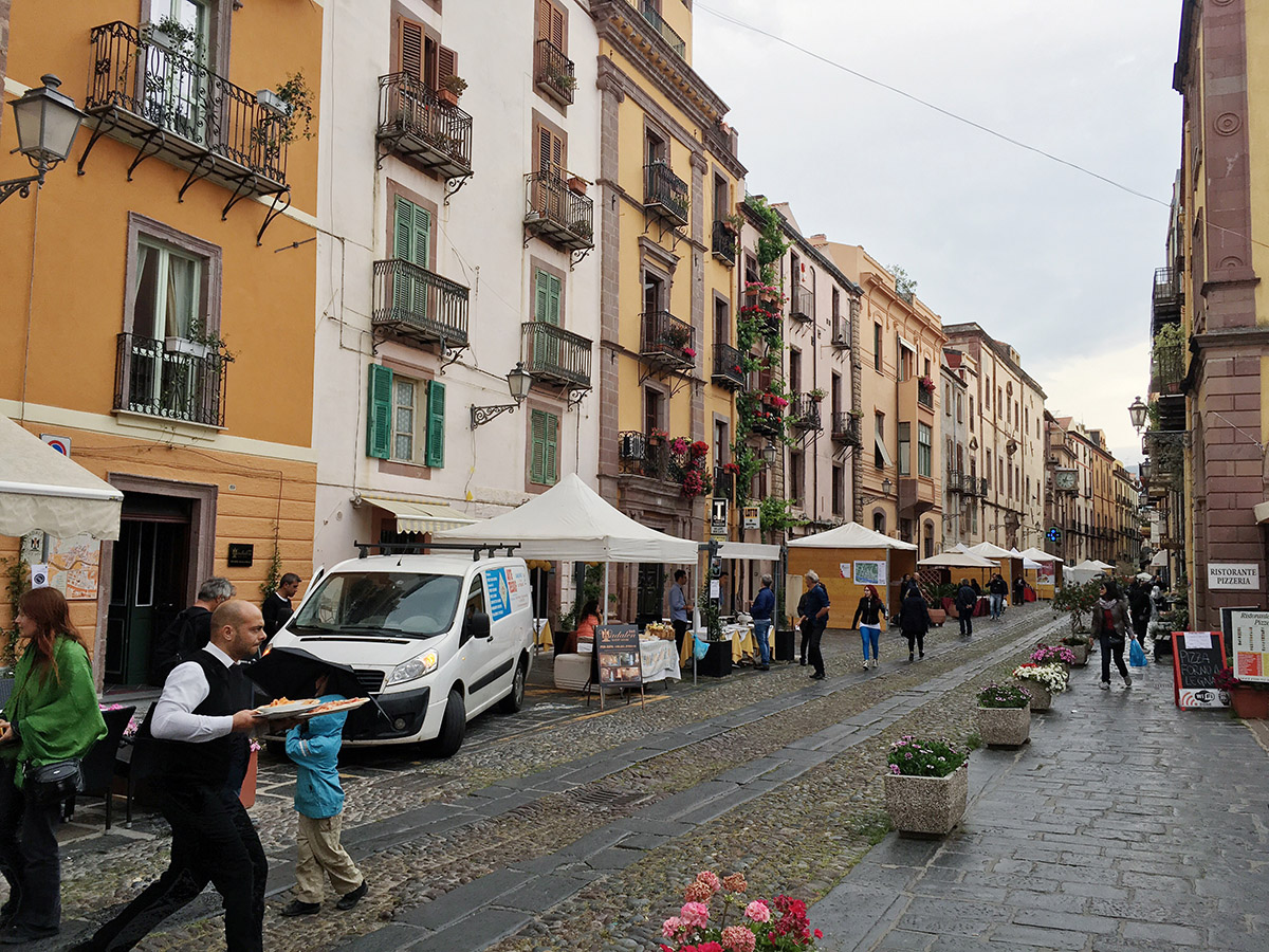 Bustling streets of Bosa, Sardinia