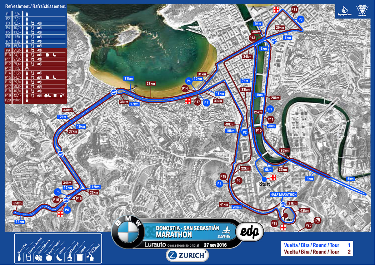 San Sebastian Marathon Course Map